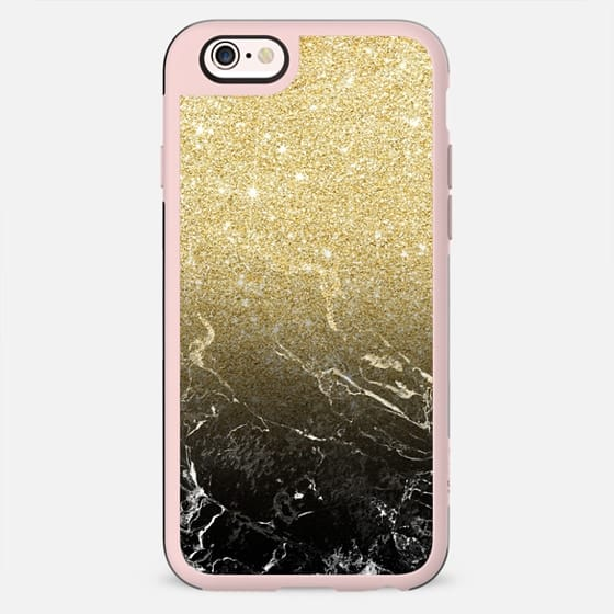 Luxurious Modern girly faux gold glitter black marble pattern by Girly Trend - New Standard Case