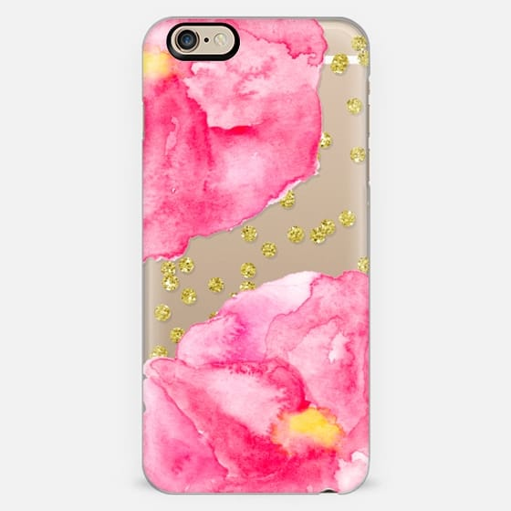 Pink watercolor hand painted petal flower gold glitter confetti by Girly Trend -