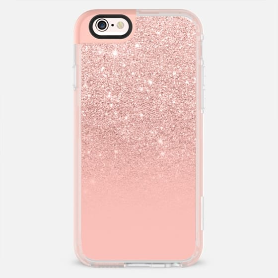 Modern peach pink pastel faux glitter ombre color block by Girly Trend -