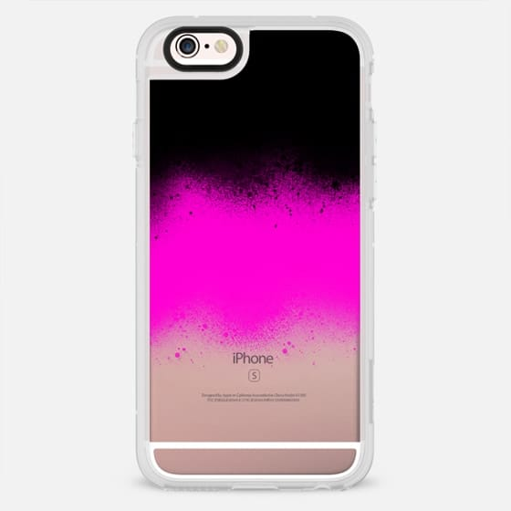 Modern black neon pink paint splatters by Girly Trend