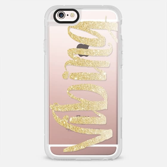 Modern typography quote vibing gold glitter ombre by Girly Trend