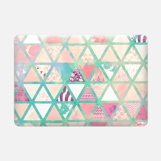 Pink Turquoise Abstract Floral Triangles Patchwork by Girly Trend -
