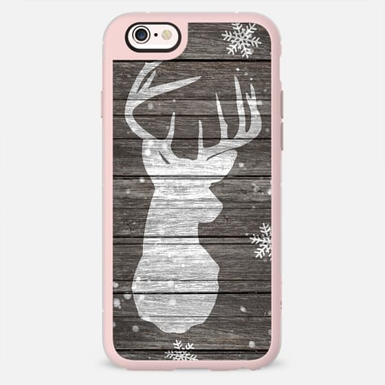 Snow painted deer antlers striped brown wood by Girly Trend -