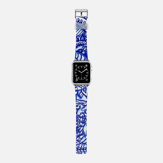 Modern blue handdrawn watercolor floral mandala pattern by Girly Trend -