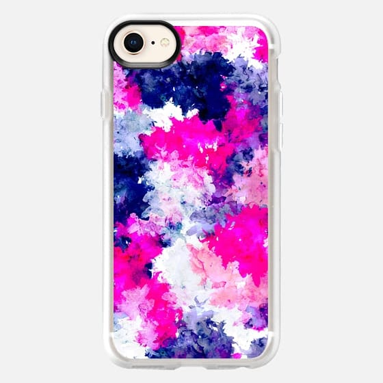 Modern bright hand painted neon pink blue watercolor brushstrokes splatters by Girly Trend - Snap Case