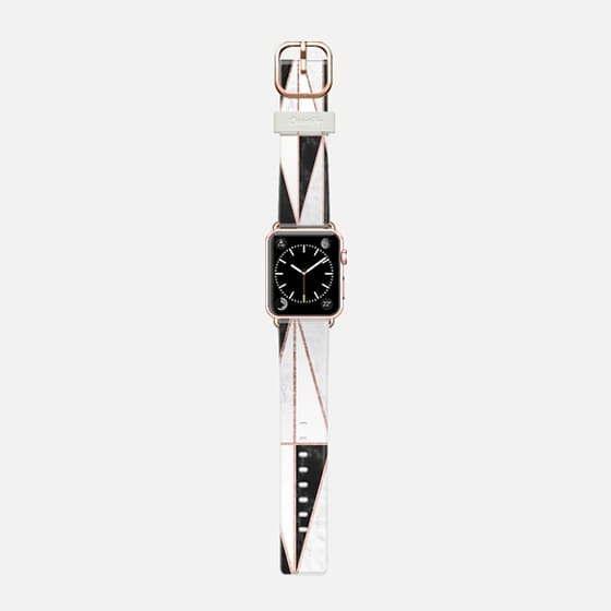 Modern geometric triangles rose gold on black white marble pattern by Girly Trend - Saffiano Leather Watch Band