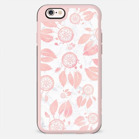 Modern blush pink pastel watercolor handdrawn feathers dreamcatchers pattern white marble by Girly Trend - New Standard Case