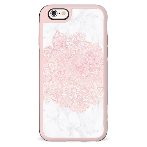 Modern blush pink watercolor elephant handdrawn floral mandala pattern white marble by Girly Trend