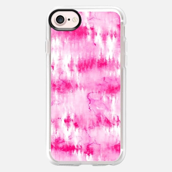 Boho bright hippie neon pink tie dye stripes pattern hand painted watercolor by Girly Trend
