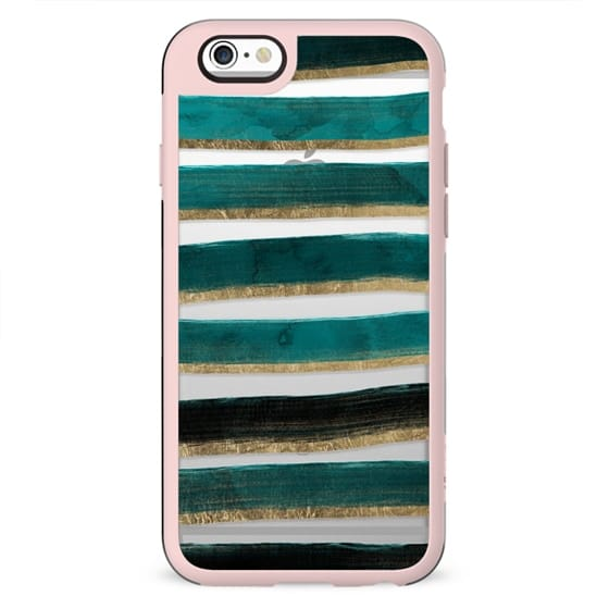 Modern hand painted emerald turquoise watercolor stripes gold geometric pattern by Girly Trend