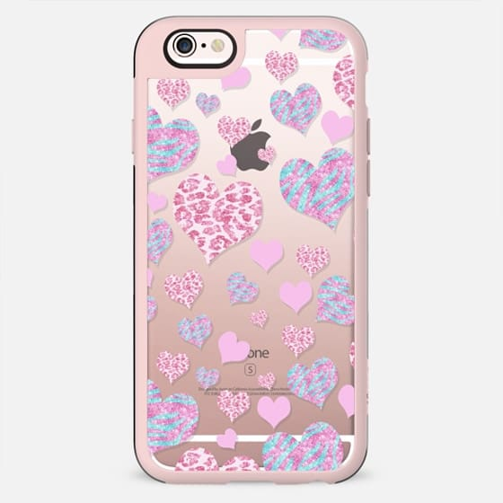 Pink teal glitter love hearts pattern leopard and zebra  - New Standard Case