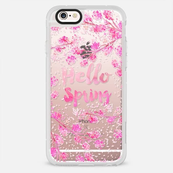 Modern hello spring typography pink watercolor cherry blossom sakura hand painted  by Girly Trend - New Standard Case