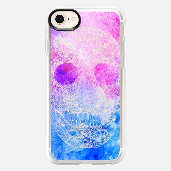Modern pink blue watercolor hand drawn floral lace mandala skull dia de los muertos illustration by Girly Trend - Snap Case