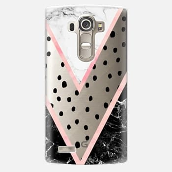 LG G4 Case Modern pink pastel black white marble polka dots pink blush watercolor chevron color block by Girly Trend