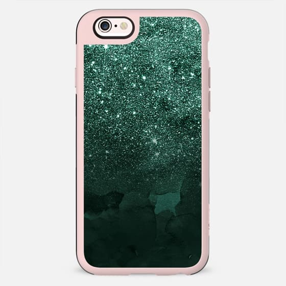 Green deep forest faux glitter ombre on modern green watercolor by Girly Trend - New Standard Case