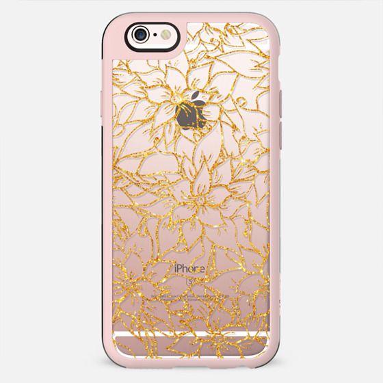 Gold glitter floral pattern hand drawn - New Standard Case
