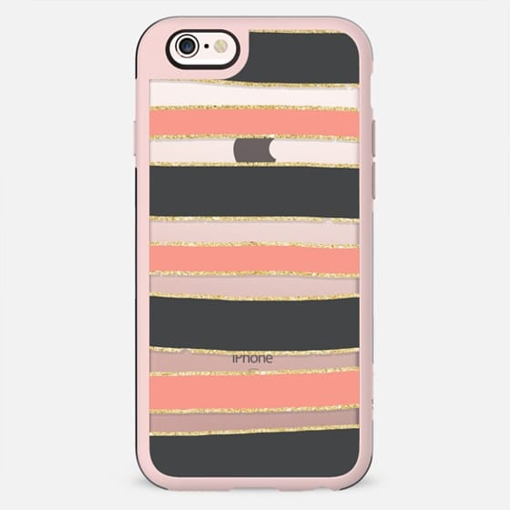 Modern coral gray gold hand drawn stripes pattern by Girly Trend