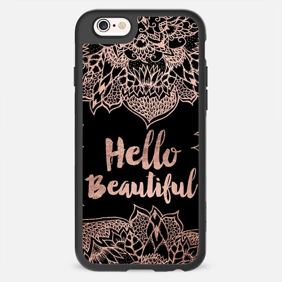 Modern hello beautiful rose gold chic floral hand drawn mandala typography by Girly Trend -