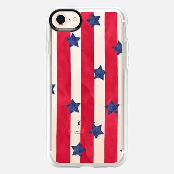 Modern red watercolor stipes blue stars 4th of july by GirlyTrend - Snap Case