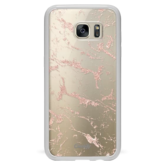 new arrival 4b422 67dc6 Classic Snap Samsung Galaxy S7 Edge Case - Modern rose gold glitter marble  by Girly Trend