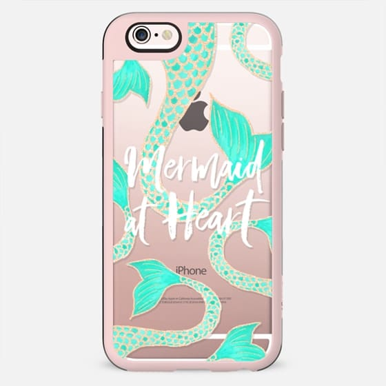 Modern mermaid at heart typography quote turquoise gold fish scale tail by Girly Trend - New Standard Case