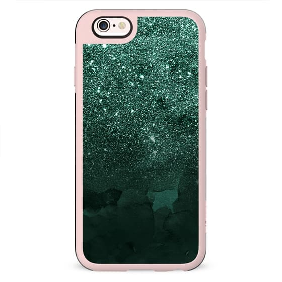 Green deep forest faux glitter ombre on modern green watercolor by Girly Trend