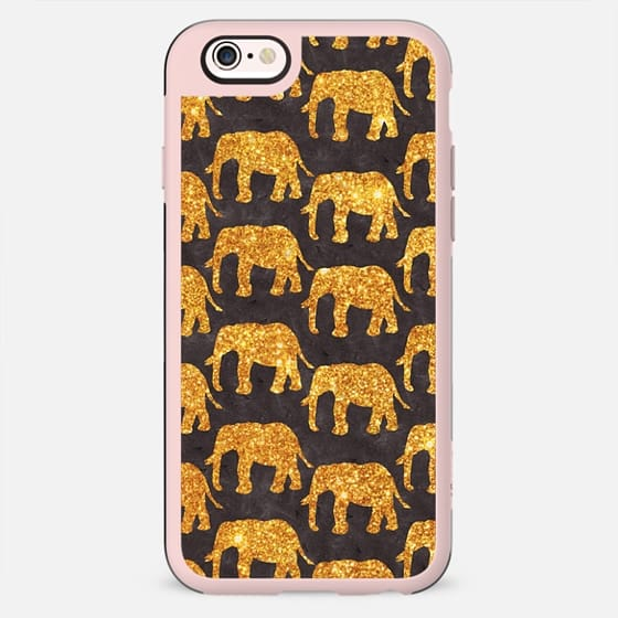 Whimsical Gold Glitter Elephants Pattern On Gray -