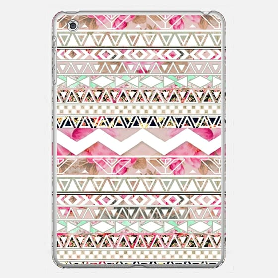 Girly Pink White Floral Abstract Aztec Pattern Ipad Mini - Classic Snap Case