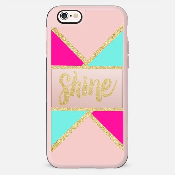 Luxurious gold glitter shine typography mint pink color block - New Standard Case