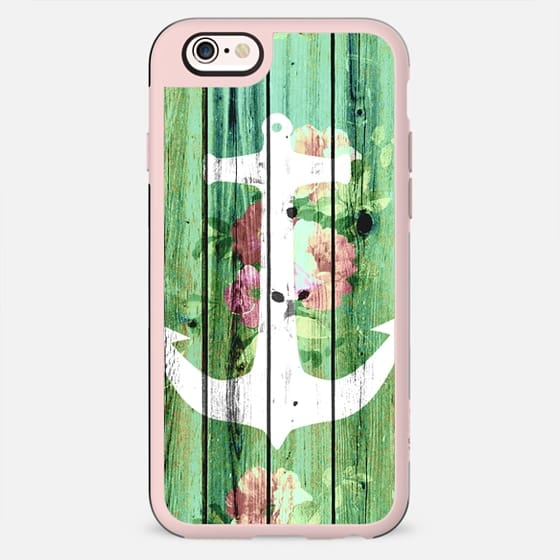 Vintage Floral Nautical Anchor Green Beach Wood by Girly Trend - New Standard Case