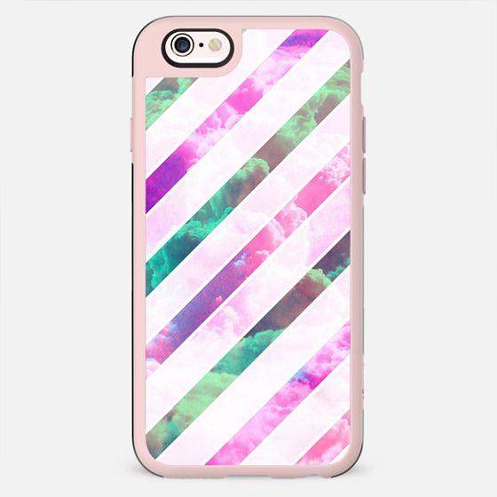 Girly Pink Clouds Modern White Geometric Stripes -