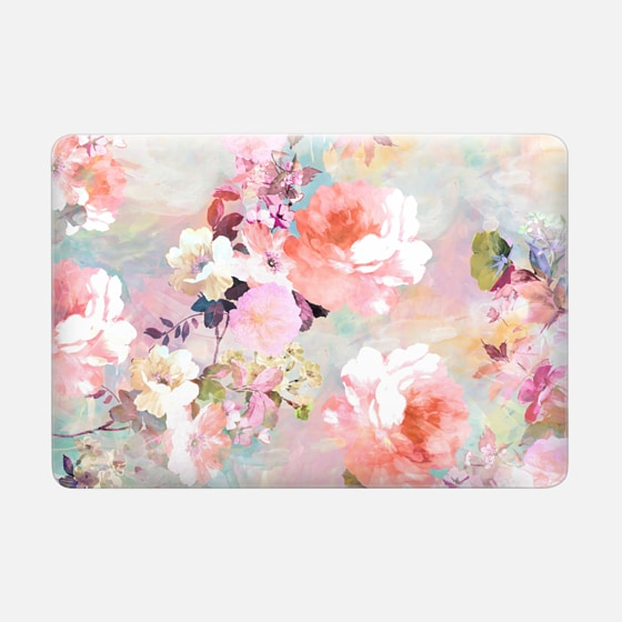 Macbook Air 13 Case - Romantic Pink Teal Pastel Chic Floral Pattern by Girly Trend