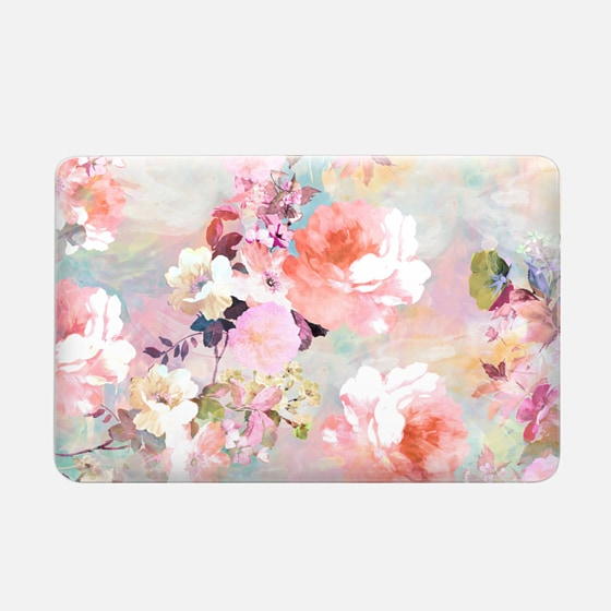 Macbook Air 11 Case - Romantic Pink Teal Pastel Chic Floral Pattern by Girly Trend