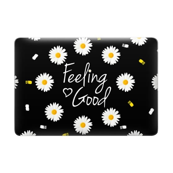 Girly daisy flowers feeling good typography brushstrokes  by Girly Trend
