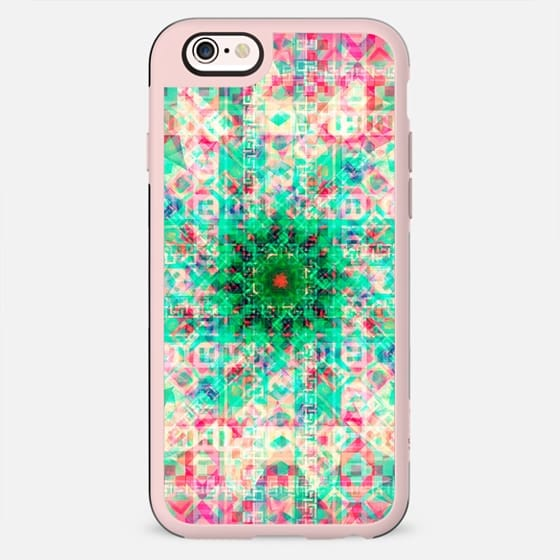 Girly Pink Teal Lotus Kaleidoscope Bright Neon -