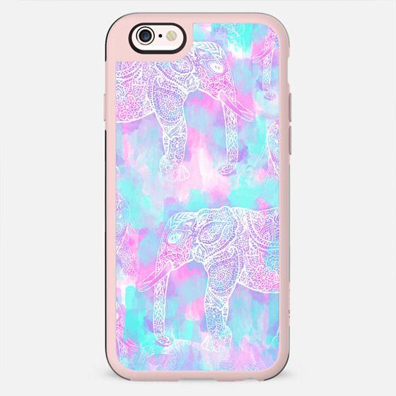 Pink aqua paisley elephant bright Henna pattern by Girly Trend - New Standard Case