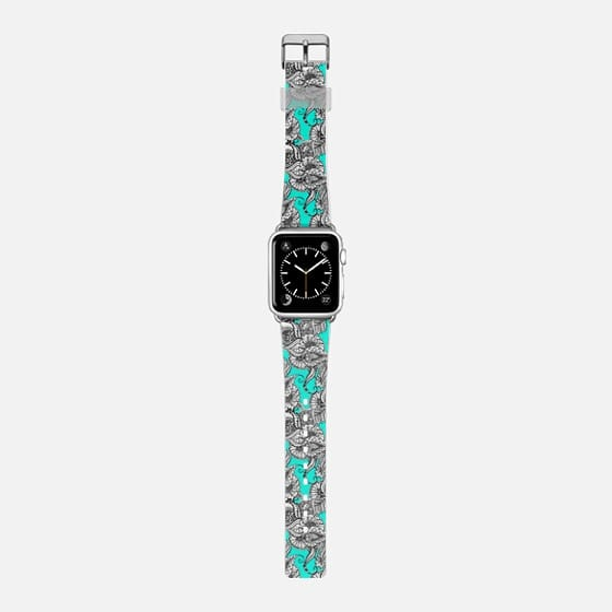 Boho chic black white hand drawn floral doodles pattern turquoise by Girly Trend -