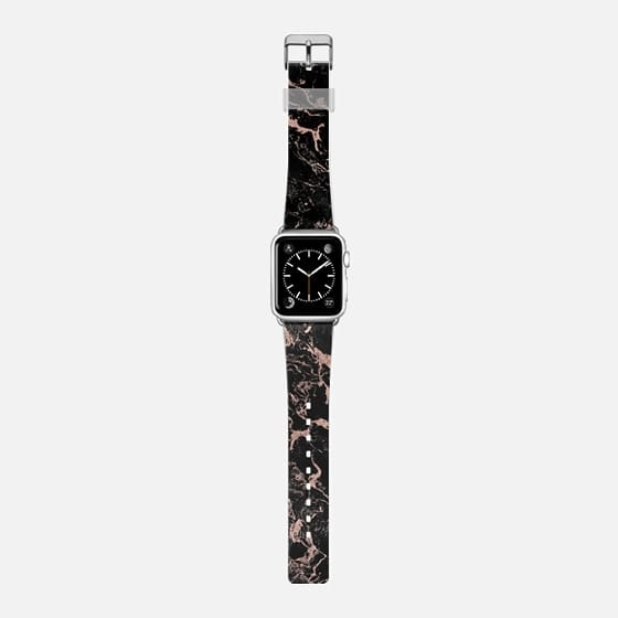 Modern chic rose gold foil black marble by Girly Trend - Saffiano Leather Watch Band