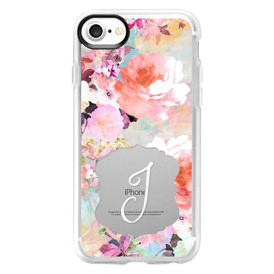 J letter monogram typography elegant floral pastel pink purple watercolor by Girly Trend