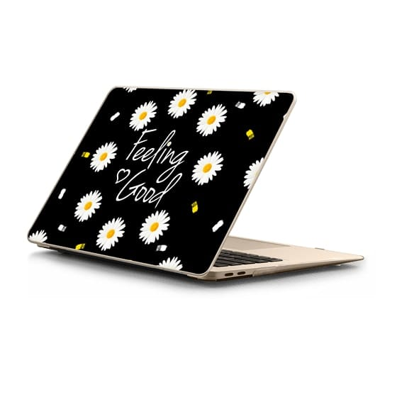 MacBook Air Retina 13 Sleeves - Girly daisy flowers feeling good typography brushstrokes  by Girly Trend