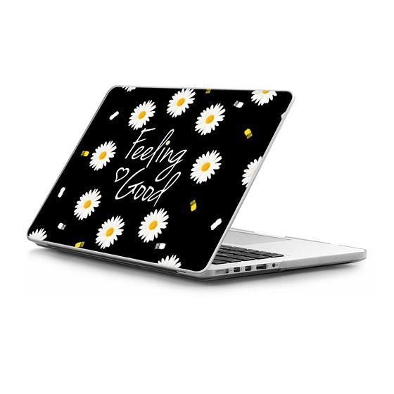MacBook Pro Retina 13 Sleeves - Girly daisy flowers feeling good typography brushstrokes  by Girly Trend