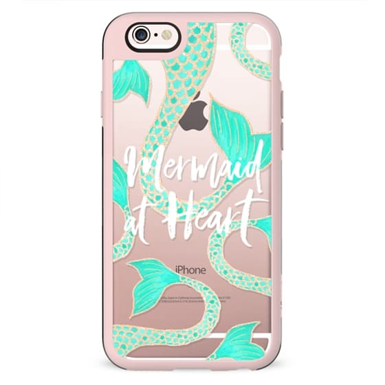 Modern mermaid at heart typography quote turquoise gold fish scale tail by Girly Trend
