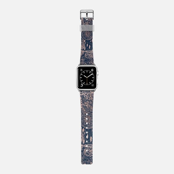 Modern rose gold dreamcatcher floral doodles navy blue illustration by Girly Trend - Saffiano Leather Watch Band