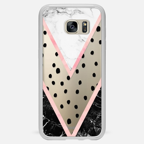 Galaxy S7 Edge Hülle - Modern pink pastel black white marble polka dots pink blush watercolor chevron color block by Girly Trend
