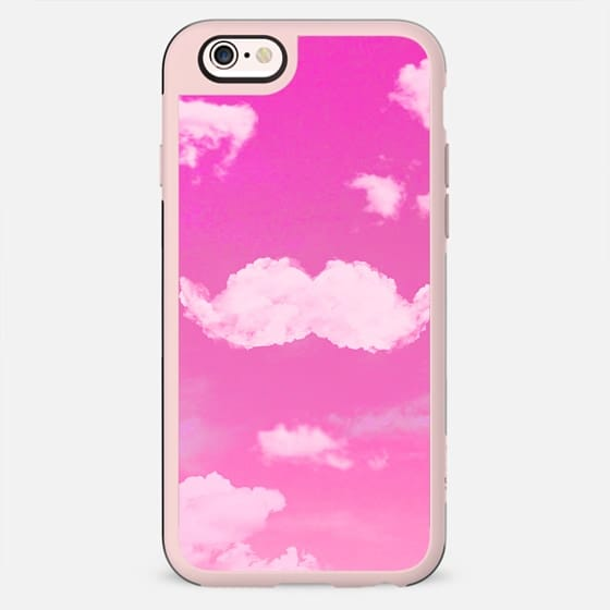 Funny Mustache Cool White Clouds Pink Skyscape