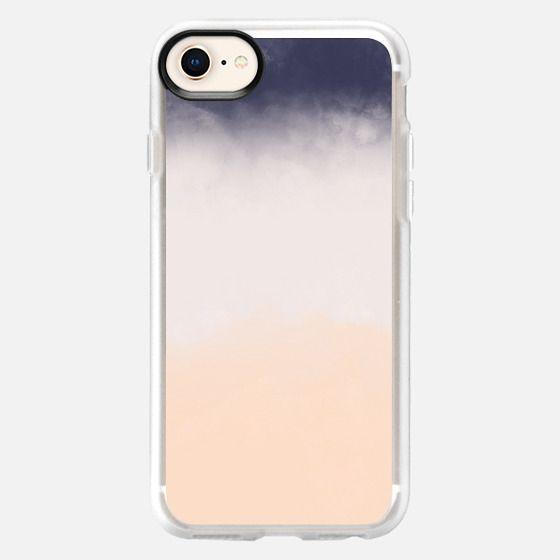 Modern Navy Blue Peach Watercolor Block Stripes - Snap Case