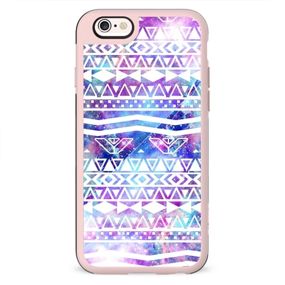 White Aztec Pattern Purple Nebula Galaxy