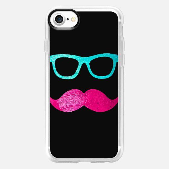 Funny Pink mustache teal hipster glasses Black -
