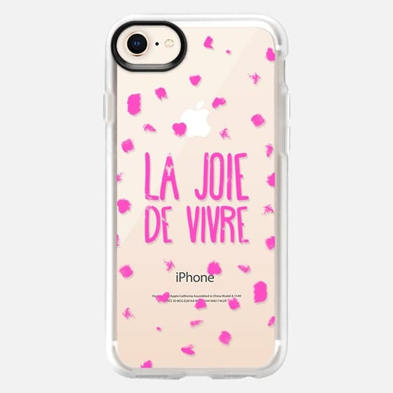 Girly neon pink French typography La joie de vivre painted polka dots - Snap Case