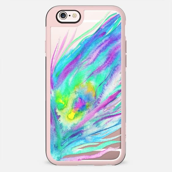 Painted bright watercolor peacock feather transparent - New Standard Case